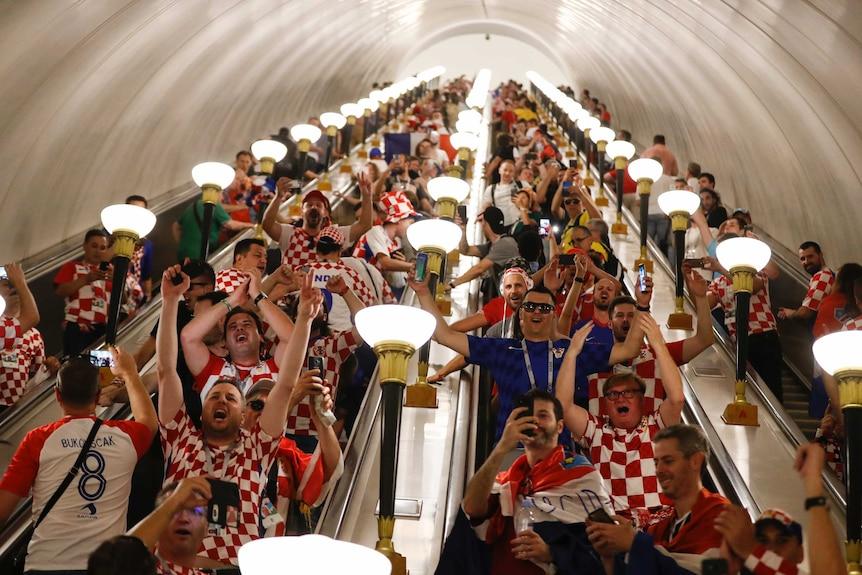 Croatia fans on the escalators on their way to the stadium