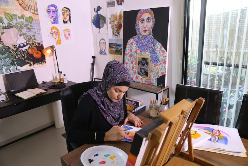 Amani Haydar entered an artwork of her late mother Salwa Haydar, who was murdered by her father, in the 2018 Archibald Prize.
