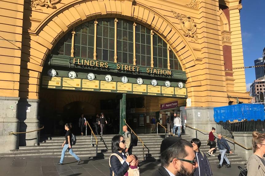 Exterior of Flinders Street Station in Melbourne.