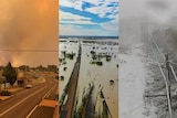 Three pictures alongside of fire, floods and snow taken in the last few days.