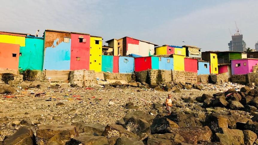 A Mumbai slum after being painted.