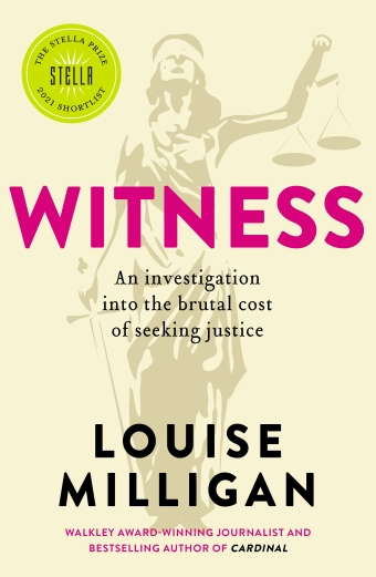 The book cover of Witness by Louise Milligan, lady justice in a blindfold