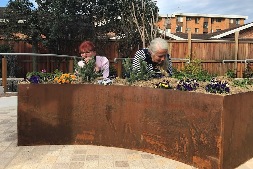 Two women smell herbs at the pick and sniff section of the dementia garden in Port Macquarie.