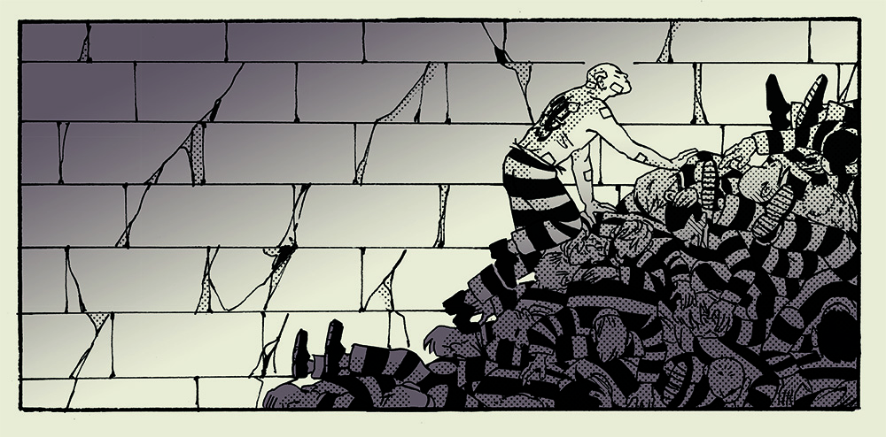 An illustration of patched up shirtless bald man with back tattoo crawls up hill of dead bodies in striped prison uniform.
