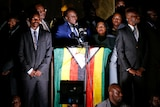 Emmerson Mnangagwa addresses supporters in Harare.