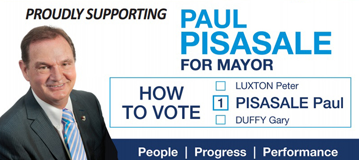 How to vote card - Paul Pisasale for Mayor, Ipswich council area in 2016 local government election