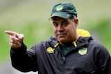 Kangaroos coach Mal Meninga during a Kangaroos training session at AAMI Park in October 2017.