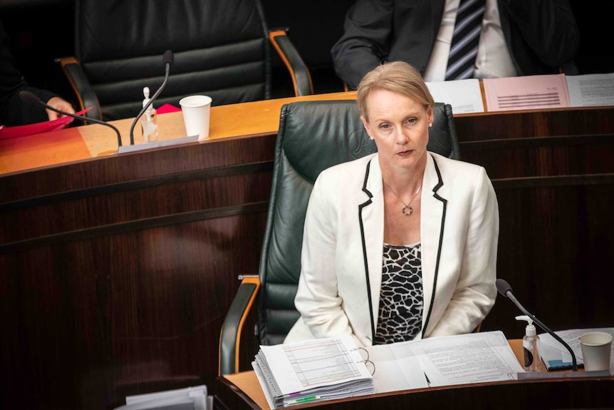 A blonde haired woman in a suit sits in parliament