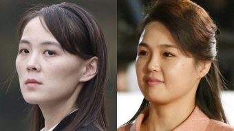 Kim Jong-un's sister Kim Yo-jong (left) and his wife Ri Sol-ju.