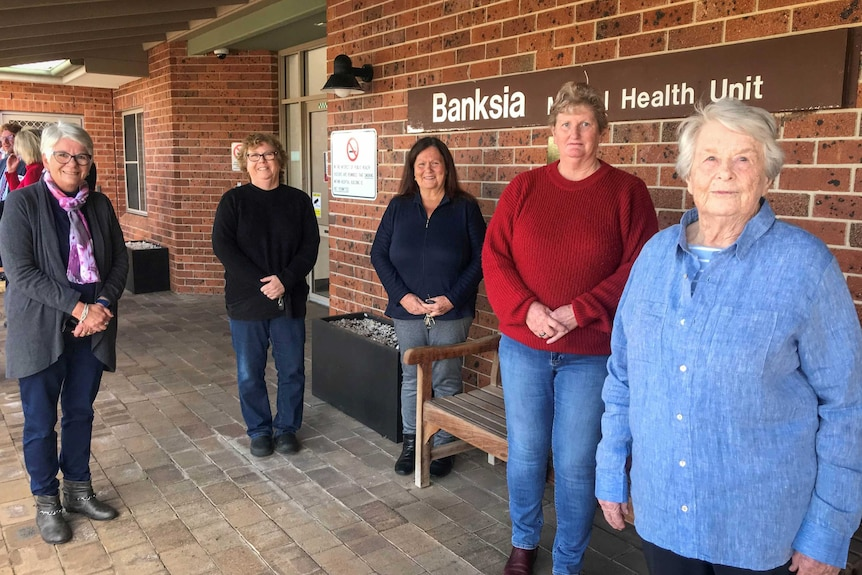 Five women stand outside Tamworth's Banksia Mental health Unit