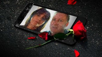 A broken phone, displaying a photo of a man and woman, and a rose.