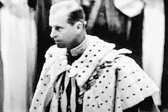 A still of Prince Philip at the coronation of Queen Elizabeth II at Westminster Abbey on June 2, 1945.