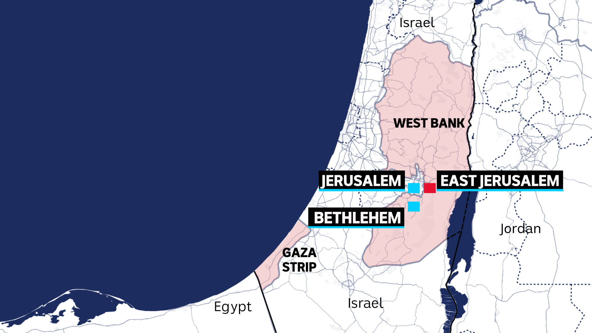 Gaza is to the bottom left, along the coast while the West Bank is along the western border with Jordan.