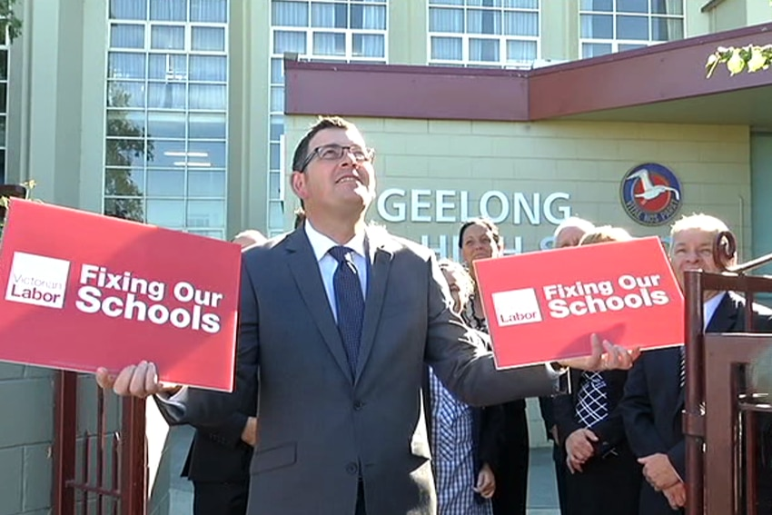 Opposition leader Daniel Andrews promises $12 million to fix Geelong High School if he wins the November election.