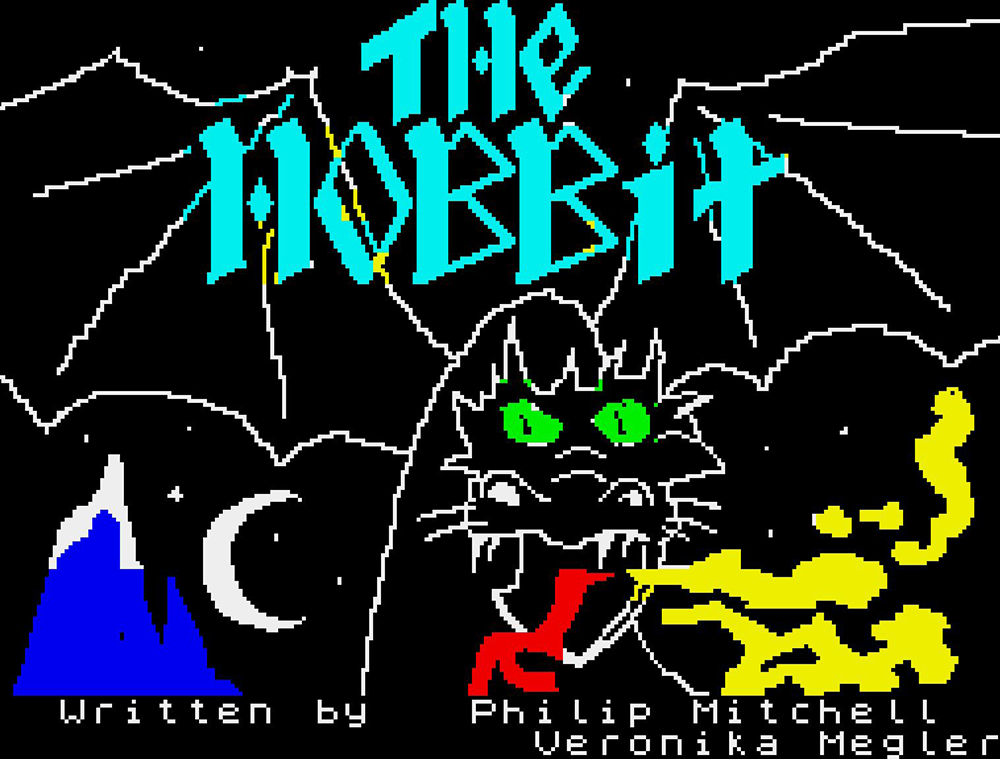 In a scene from a video game, The Hobbit is written in blue above fire-breathing dragon rendered in 8-bit graphic illustration.