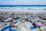 Plastic washed up on a beach on Christmas Island