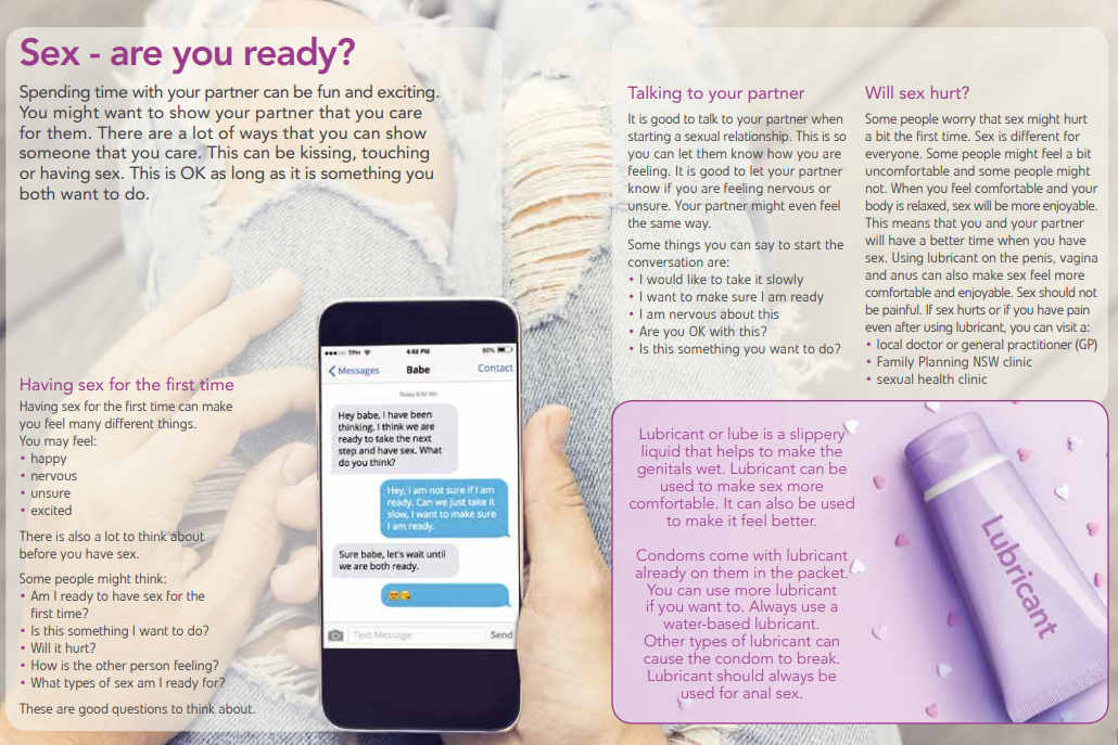 Page from Family planning NSW booklet titled 'Sex - are you ready?' with text explaining consent, lubricant, pain and sex, etc.