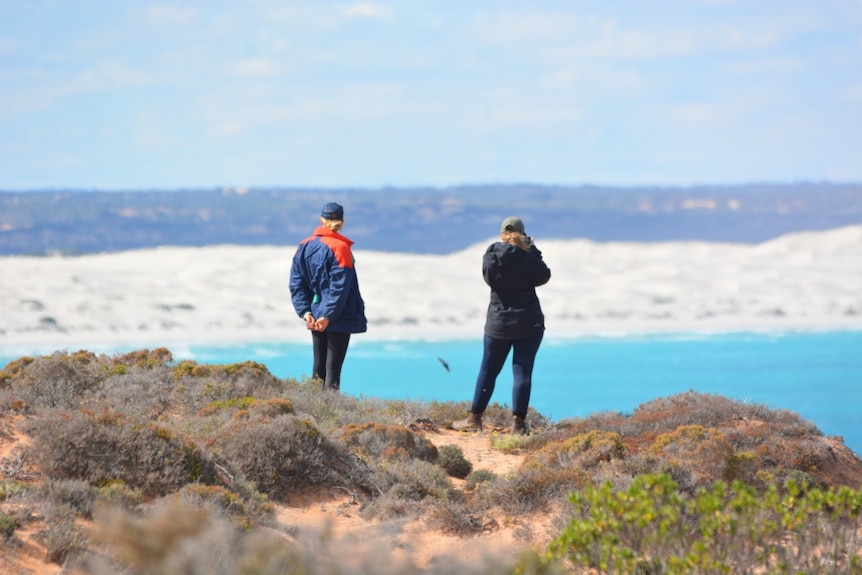 A man and a woman stand on a dune looking out across a huge bay.