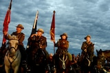 Members of the Light Horse brigade take part in the ANZAC Day dawn service at Currumbin.