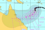The projected path of Tropical Cyclone Ului as it approaches Queensland