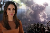 A composite image of Irena Ceranic in a garden setting and an archive photo of a big explosion.