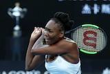 Venus Williams plays a backhand in Australian Open final