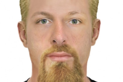 A facial composition of a man with short blonde hair and a long beard.