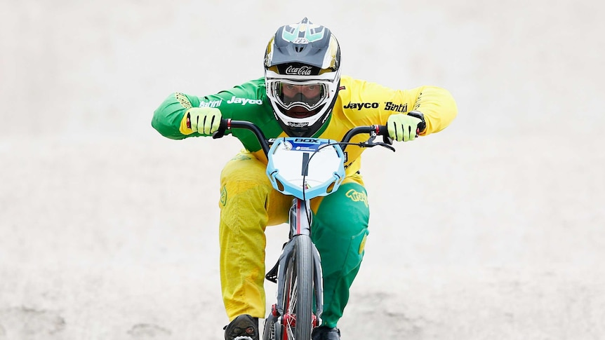 Australian Sam Willoughby competes in the 2015 BMX world championships in Belgium.