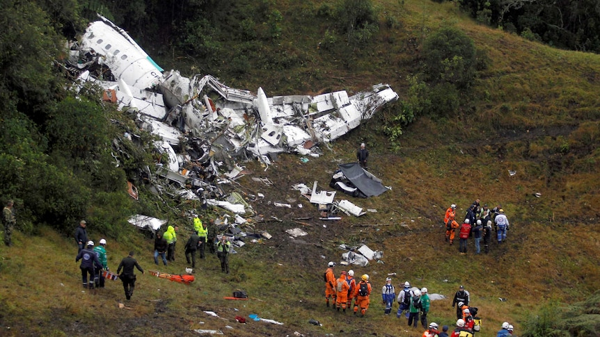 Emergency services pulled six people from the plane wreckage in the Colombian jungle.