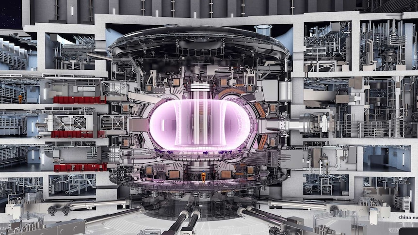 An artist's impression of what the enormous ITER plant will look like. In the centre is the glowing chamber for the plasma.