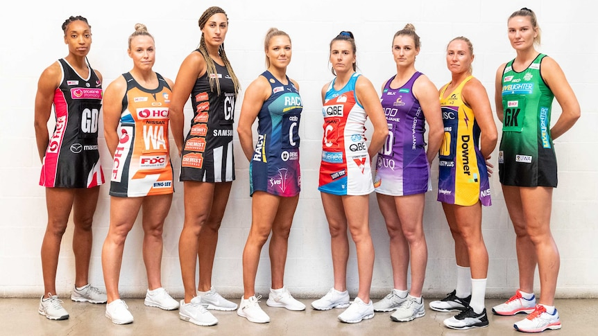 Representatives from all eight netball clubs attend the 2019 Super Netball launch.
