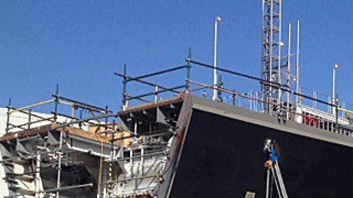 Destroyer under construction