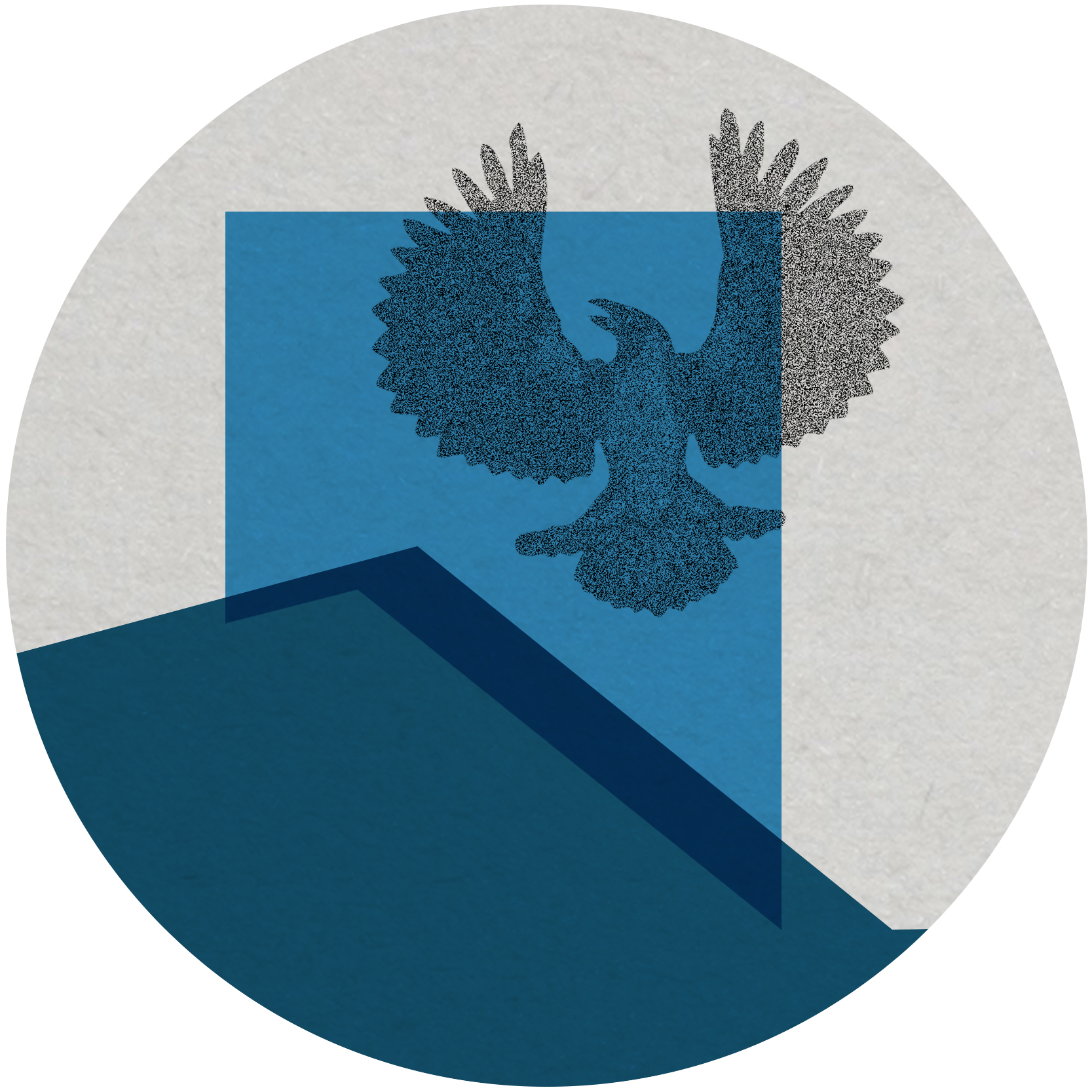 an outline of the state of South Australia in blue, a piping shrike bird with wings spread is outlined in grey