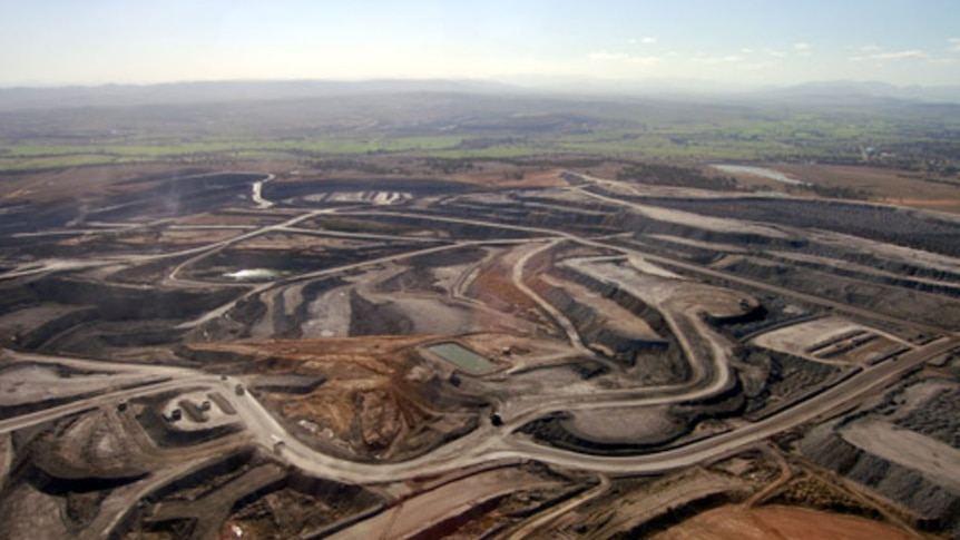 An aerial view of the Mt Arthur coal mine in NSW.