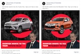 Two Liberal Party advertisements featuring utes