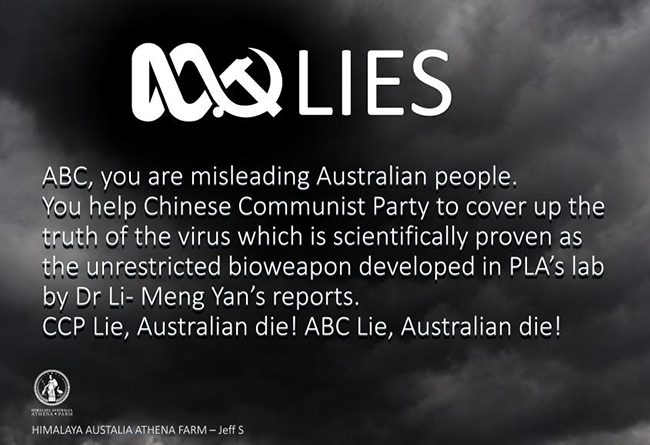 Text reads: ABC you are misleading Australian people. You help Chinese Communist Party to cover up the truth of the virus...