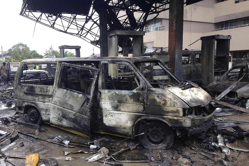Petrol station explosion