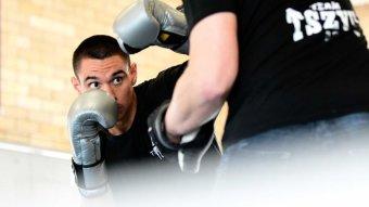 Tim Tszyu in training at the Tszyu Boxing Academy in Rockdale, Sydney.