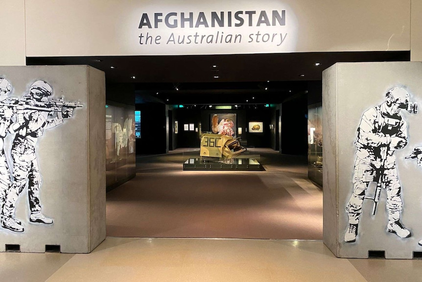 The entrance to the Afghanistan exhibition at the Australian War Memorial.