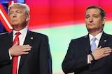 Donald Trump and Ted Cruz at debate