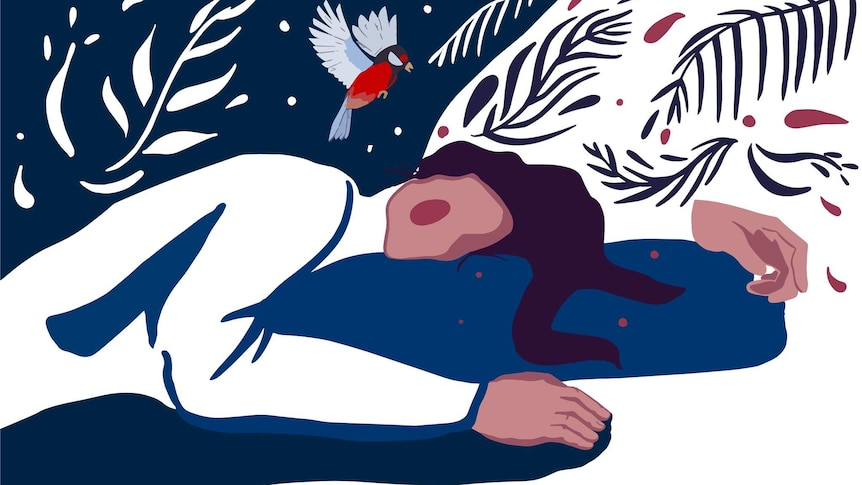 An illustration showing a sleeping woman with darkness swirling around her and a tiny bird hovering above her head