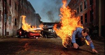 Man burning after car crash