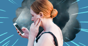 Distressed woman looking at her phone with a dark storm cloud looming around her to depict how traumatic news impacts people.