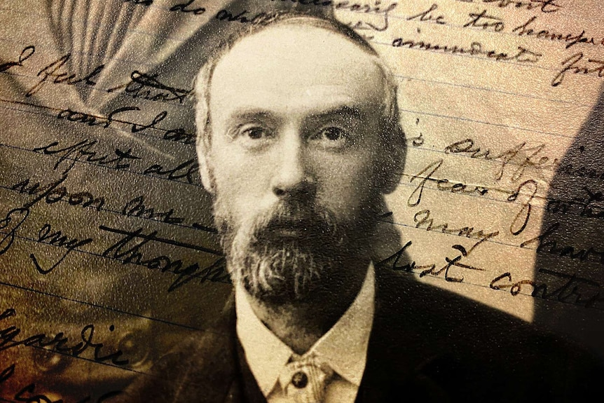 An archive black and white photo of a bearded CY O'Connor overlaid with handwritten writing.
