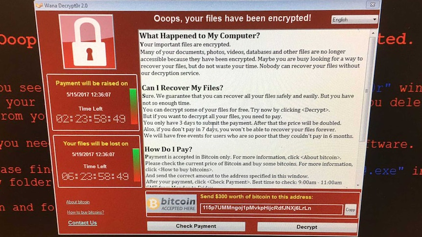 A ransom message on a UK NHS computer.