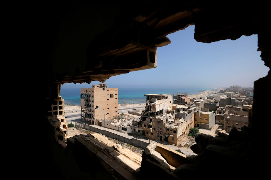 Damaged buildings along the Benghazi waterfront in 2019.
