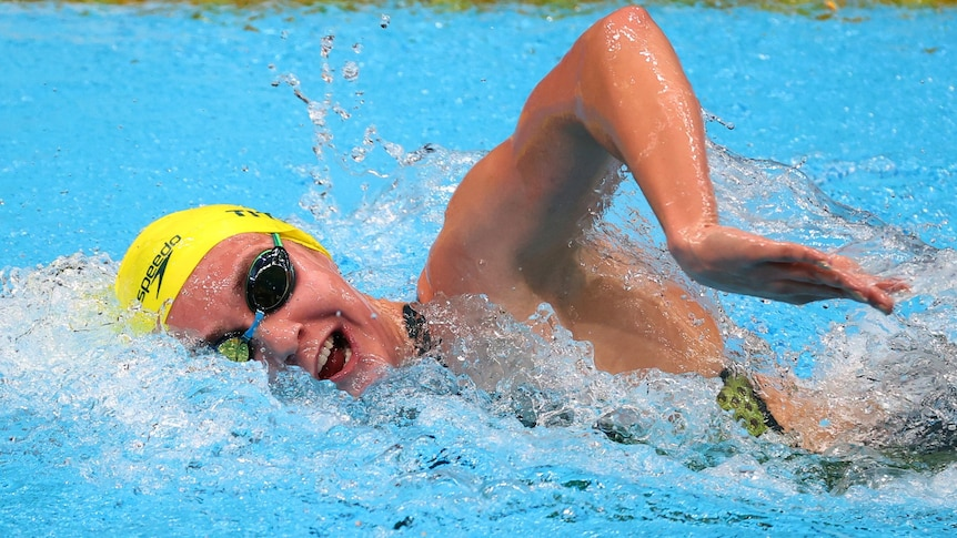 An Australian female swimmer contests a heat of the 800m freestyle at the Tokyo Olympics.