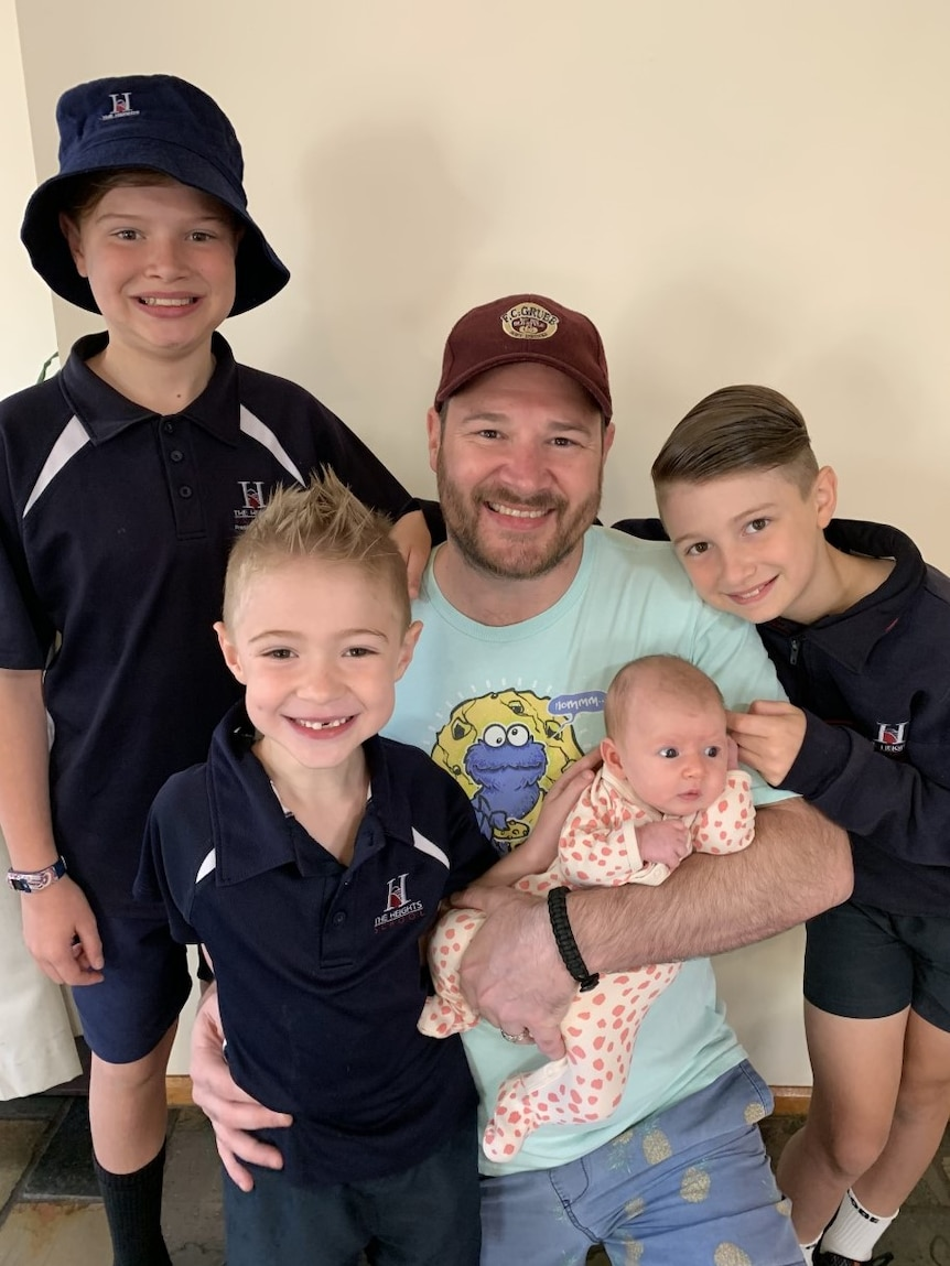 Damon and his four children for a story on having a vasectomy