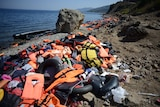Beaches in Lesvos, Greece covered in life jackets and boats from asylum seekers September 12, 2015.jpg
