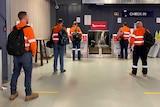 Miners at Moranbah airport